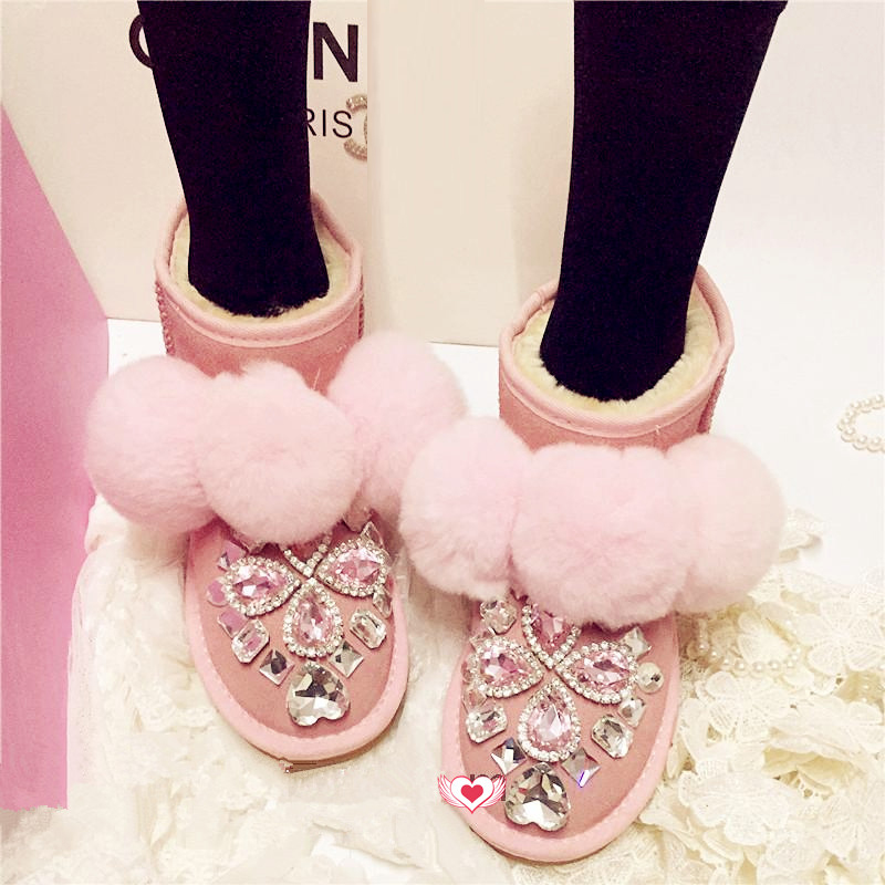 ФОТО Free Shipping Shining crystal  Rhinestone lovely kids crystal baby girl's bling flowers Snow Boots children warm Winter Shoes