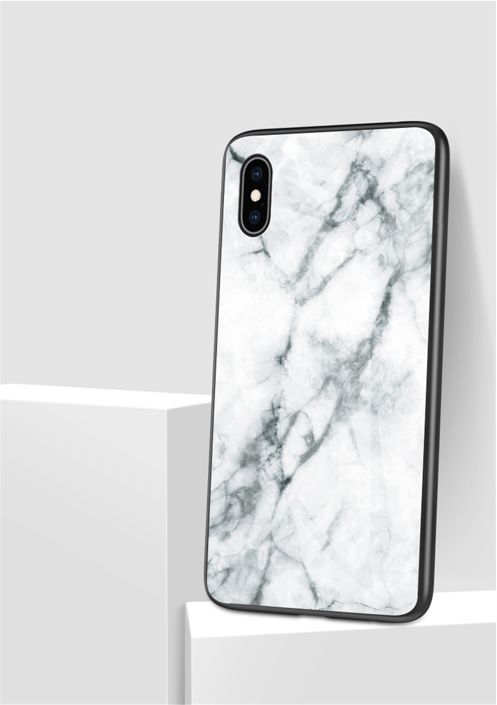 Phone - Luxury Marble Phone Case for iPhone X Xs Max Glass PC pigeo