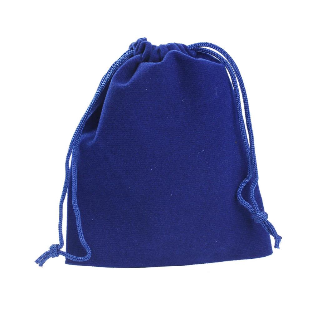 Jewelry-Bags Pouch Doreen-Box Drawstring Velveteen Blue with 12x10cm/4-3/4-X3-7/8- 10pcs