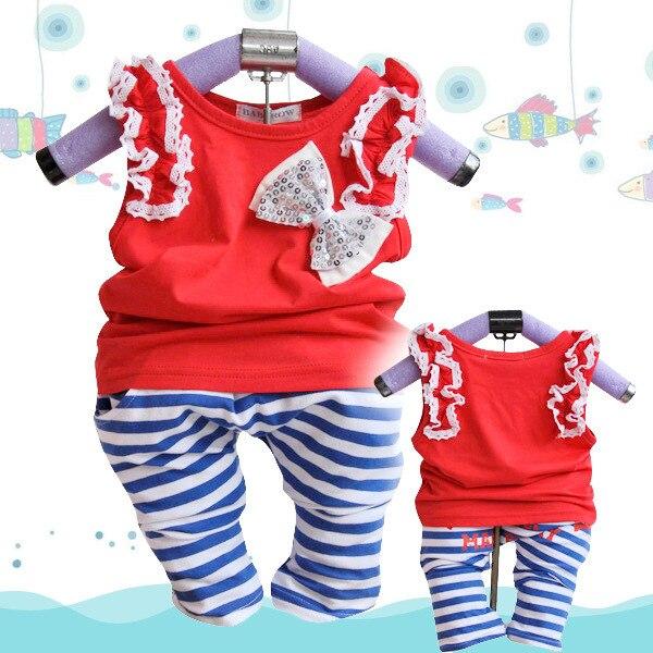 Anlencool 2017 Бесплатная доставка летние дети хлопок полосой повседневная одежда бренд девочка одежды наборы новорожденных детская одежда