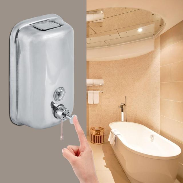 800/1000mL Stainless Steel Soap Dispenser Wall Mounted Liquid Shampoo Lotion Container Kitchen Bathroom Hand Sanitizer