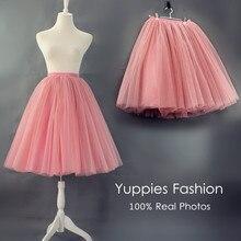 [Best Quality] 7 Layers Maxi Long Tutu Tulle Skirts Womens Pleated Skirt Vintage Elastic Waist Lolita Petticoat faldas saia jupe