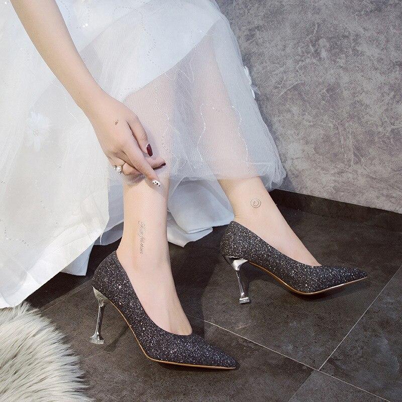 1d8ebc11ab7797 Talon Femmes Nouveau Simples Bouche 2019 Demoiselle Mariage D'honneur  pourpre Chaussures De Profonde Pointu Sexy ...