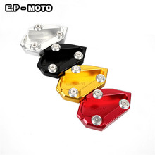 Motorcycle CNC Aluminum Parking Side Kickstand Stand Extension Base Plate Foot Pad Support For DIAVEL