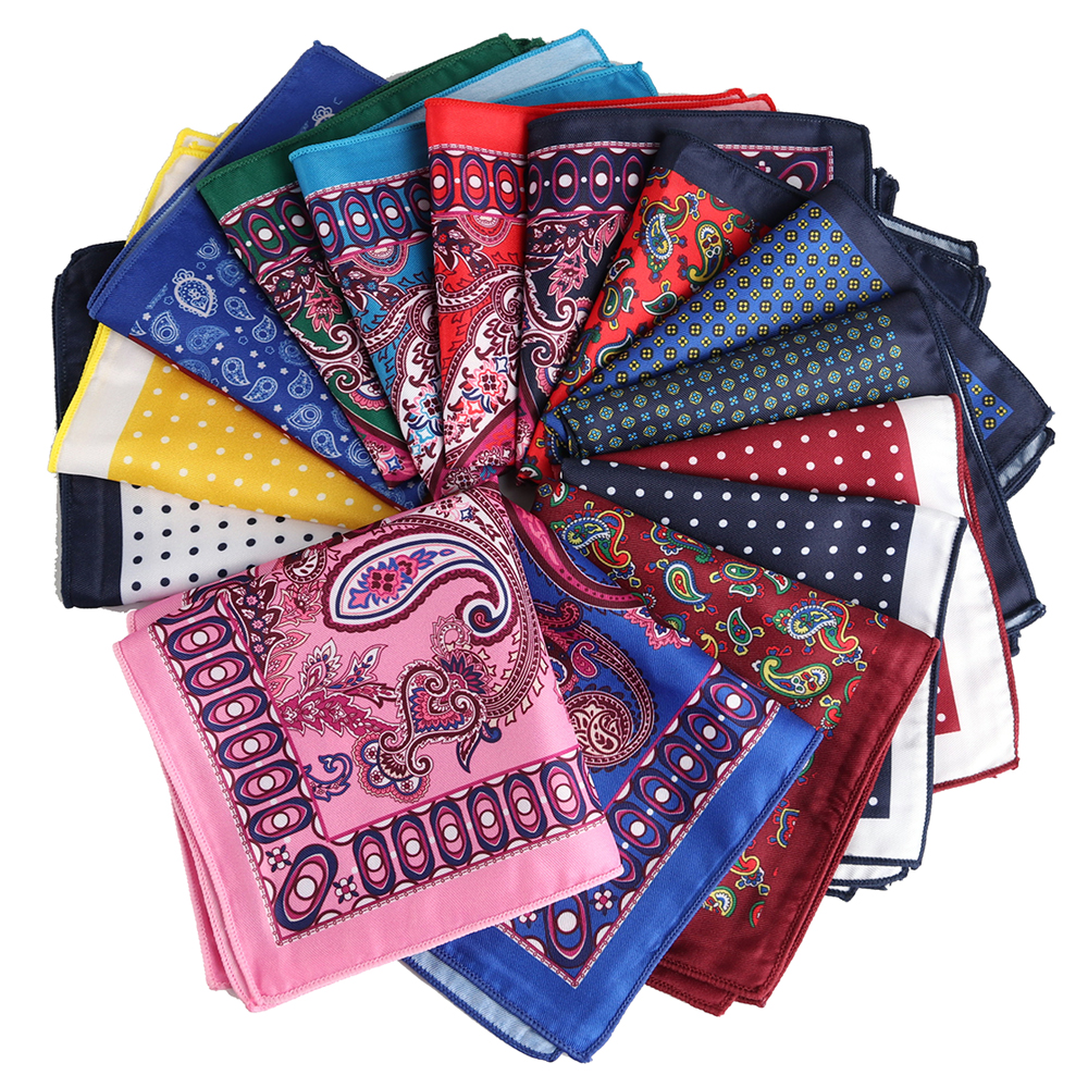 HOT!!! Pocket Square Fashion Handkerchief Polka Dot Paisley Style Soft Hanky Mens Suit Chest Towel Accessories For Wedding Party