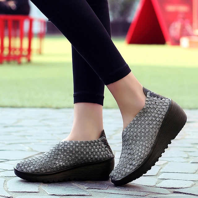New Hand-made Weave Sneakers for Women Female Sexy Slim Hees Wedge Anti-skid Slim Walking Shoes Colorful Comfortable Lazy Shoes