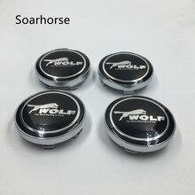 Soarhorse 4pcs/set 60mm Car Wheel Center Hub Caps Emblem Badge For Ford Wolf Logo Auto Accessories