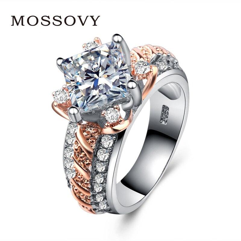 Hochzeits- & Verlobungs-schmuck Kreative Zirkon Zwei-ton Lotus Rose Gold Engagement Ring Für Weibliche Mode Beliebte Strass Hochzeit Ringe Für Frauen Schmuck AusgewäHltes Material