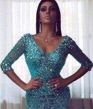 Rebe de soriee Luxus Strass Kurze Cocktailkleider Nach Maß Sexy V-ausschnitt Ice Blue Heimkehr-partei-kleider Dreess Arabisch Kleid