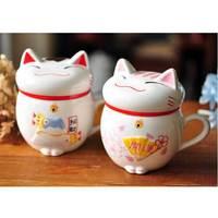 Prawdziwe Piwo Caneca Hurtownie Szczęście dla Kotów Zwierząt Ceramiczne Kawy Kubek Herbaty, słodkie Maneki Neko Kubek, kreatywny Wody puchar Prezenty Różowy/czerwony