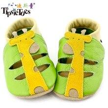 TipsieToes الزرافة السلطعون نمط جلد طبيعي لينة الطفل أطفال طفل الأخفاف أحذية للبنات الأولى ووكر 2014 الصيف الخريف