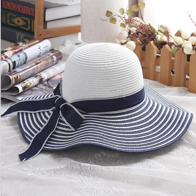 Hepburn Wind Black White Striped Bowknot Summer Sun Hat