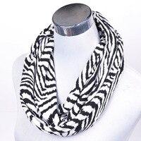 Envío Gratis señoras bufanda de punto negro Zebra Print pañuelo para las mujeres con gusto Otoño Invierno bufanda para hombres Loop bufanda regalo