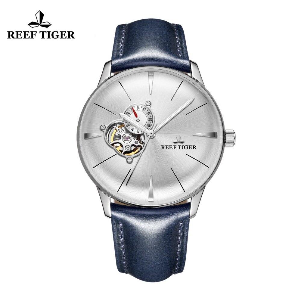 Nuovo Reef Tigre/RT Vestito Orologi per Gli Uomini In Pelle Blu Orologio In Acciaio Convessa Lente di Vetro Tourbillon Automatico Orologi RGA8239