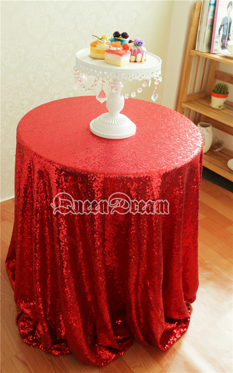 120u0027u0027 Round Sequin Tablecloth Shiny Red Fabric For  Pageant/Birthday/Feast/Party/Prom