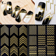 Y-XLWN Nail Art Stickers Decoration Metal Line Striping Tape Transfer Foils Laser Self-Adhesive Design DIY 3D Tips Decal