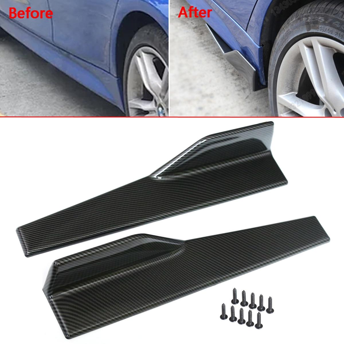 1 Paar Universal Fit Carbon Fiber Look Gemodificeerde Auto Body Side Rok Rocker Splitters Diffuser Winglet Vleugels Bumper Auto 45 Cm