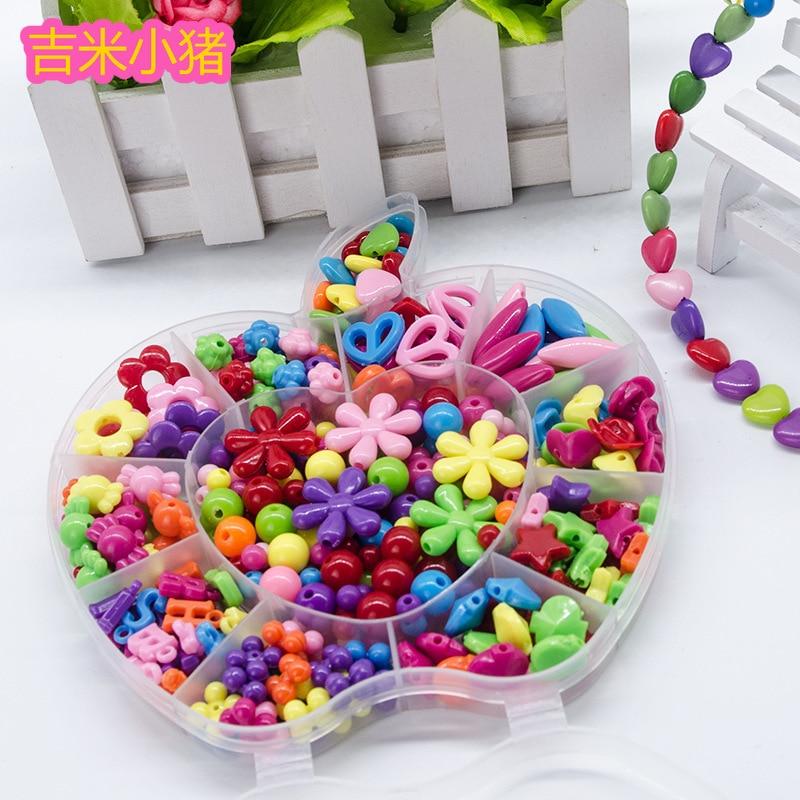 Perles jouets pour enfants fille cadeau laçage collier matériel enfants ensemble de perles couture créativité Art et artisanat pour enfants bijoux