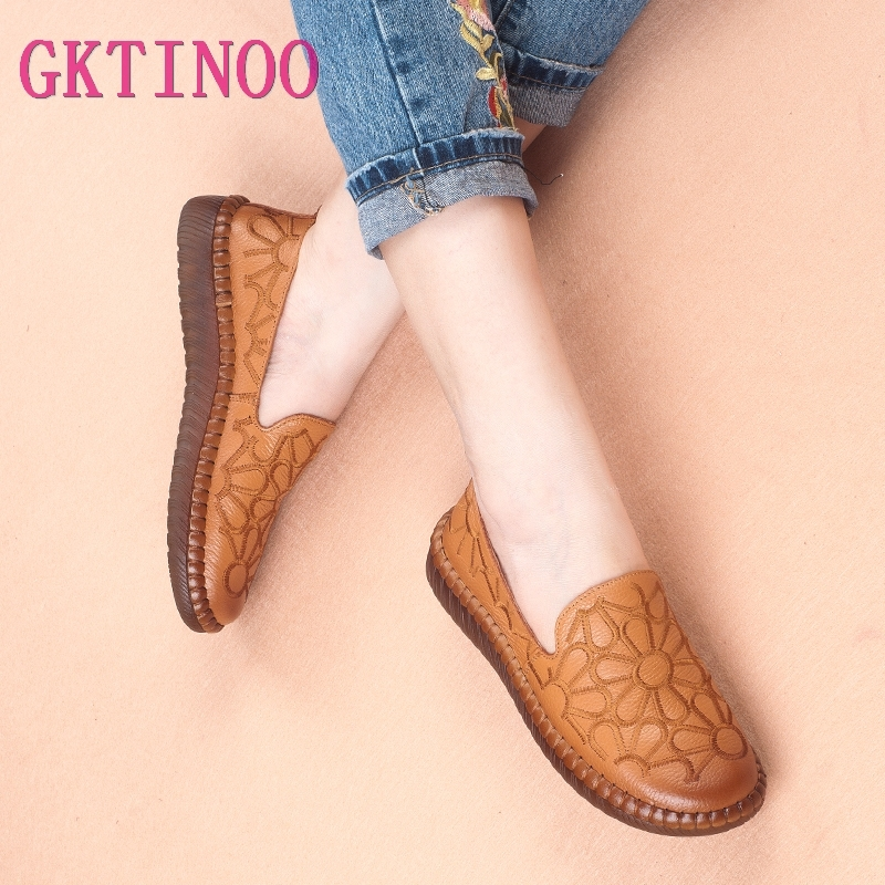 GKTINOO Casual Genuine Leather Flat Shoe Flower Slip On Driving Shoe Female Moccasins Embroider Flats Lady Pregnant Women ShoesGKTINOO Casual Genuine Leather Flat Shoe Flower Slip On Driving Shoe Female Moccasins Embroider Flats Lady Pregnant Women Shoes