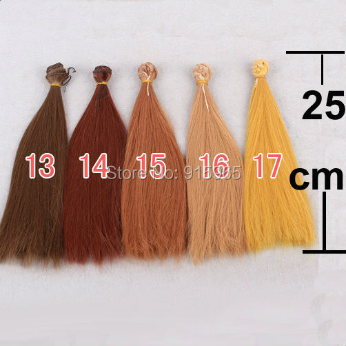 10 pieces/lot 5 colors 25cm*100cm dark brown coffe orange yellow color straight BJD doll wigs hair for blythe doll