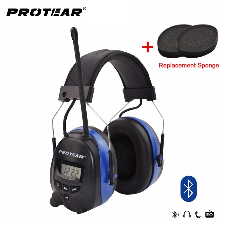 Protear Bluetooth FM/AM Radio Électronique Oreille manchons Intégré Microphone Oreille Défenseurs Protection Auditive avec AUX IN et Câble