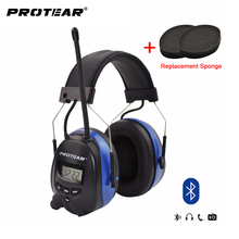 Protear Bluetooth FM/AM Radio Electronic Ear muffs Built-in Microphone Ear Defenders Hearing Protector with AUX IN & Cable
