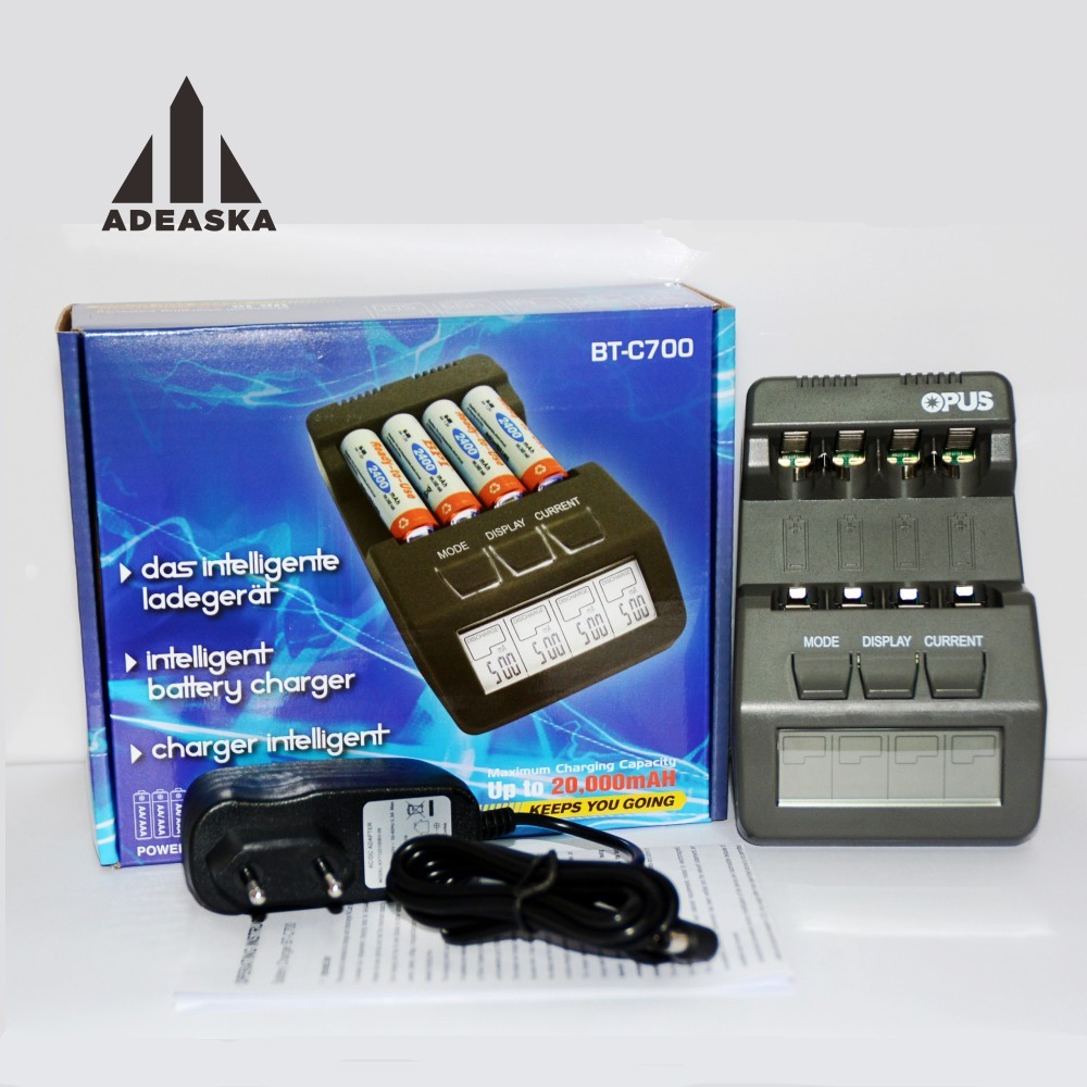 Original OPUS BT-C700 NiCd NiMh LCD Digital Intelligent AAA 16340 RCR123 14500 AA 4 Slots Battery Charger EU US Adapter VS OPUS 5 5 x 2cm lcd multifunctional intelligent digital 4 x aa aaa batteries charger black us plug