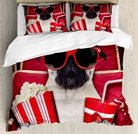 Pug Duvet Cover Set Funny Dog Watching Movie Popcorn Soft Drink and Glasses Animal Photograph Print,4 Piece Bedding Set