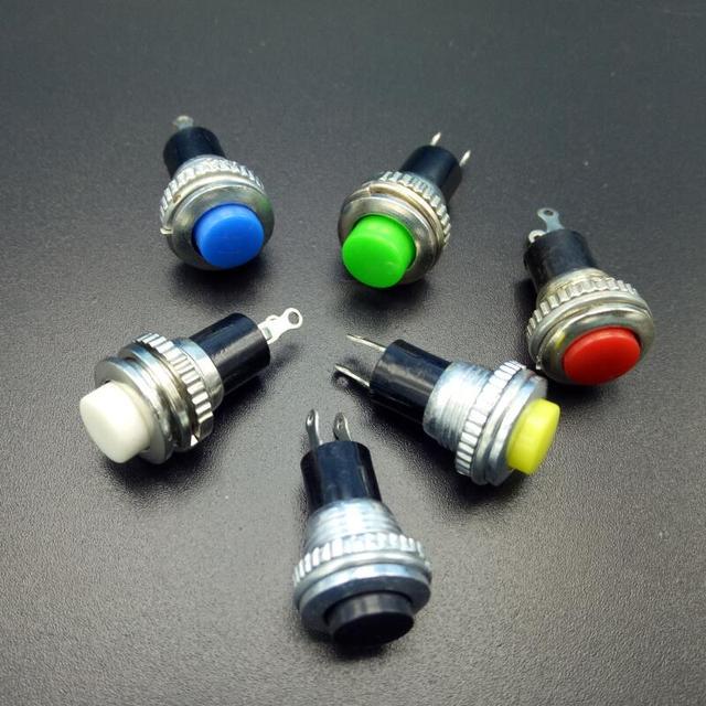 6 pcs Momentary 250VAC 0.5A interruptores de Controle Remoto Interruptores de Botão de pressão 10mm auto voltando