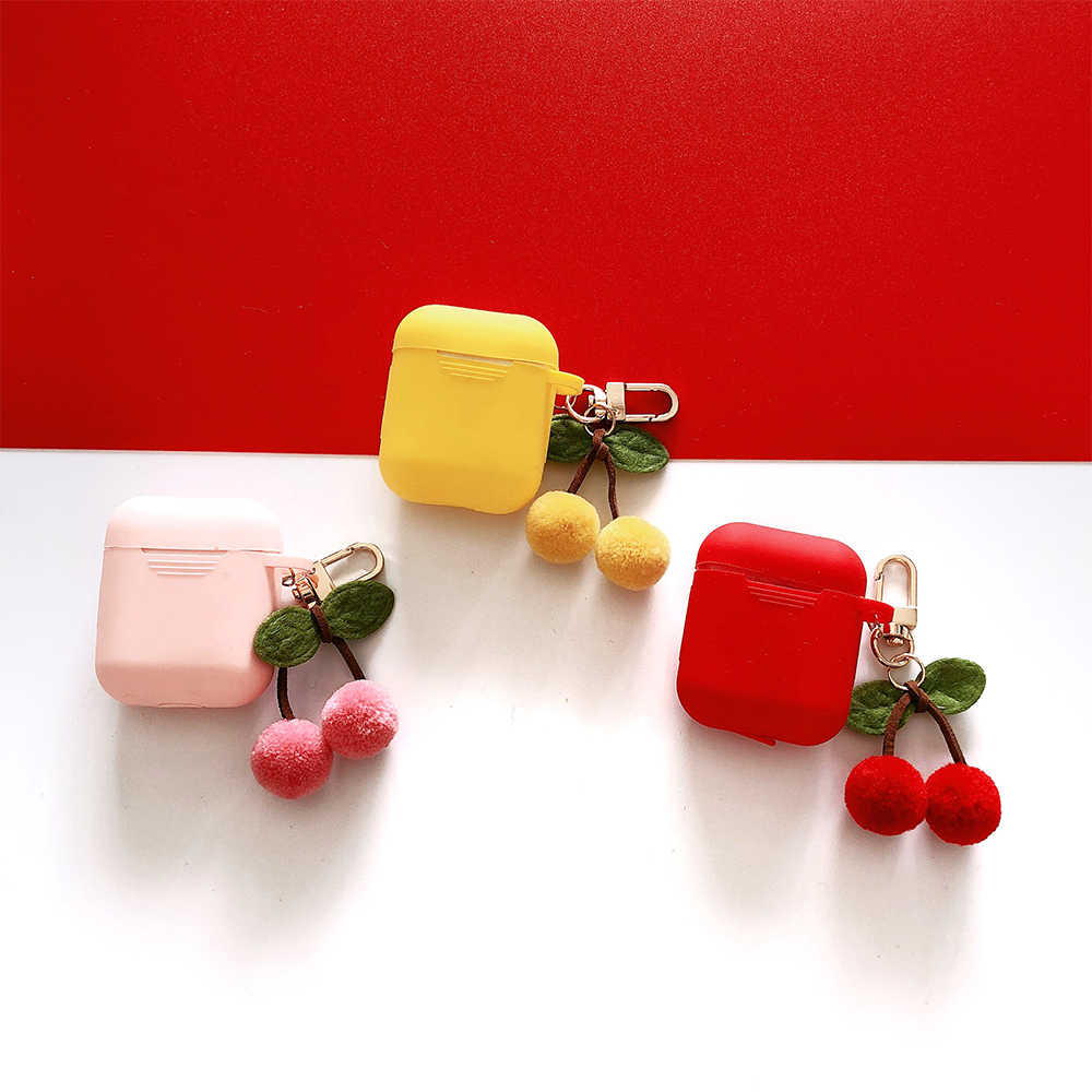 Wireless Bluetooth Earphone Cover For Apple AirPods Silicone Case With Cute Cherry Keychain For Air pod 2 Protective Accessories