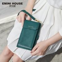 EMINI HOUSE Split Leather Crossbody Phone Bag Multifunction Wallet Lady Shoulder Bags Card Holder Women Luxury
