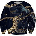 2017 Autumn and winter Women Men 3d Print Gold chain lock dinosaur Jumper fashion casual Sweatshirt Hoodies Tops plus size S-3XL