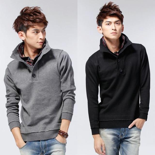 2015 venta superior tirón de moda Homme Blusa Masculina otoño ropa de moda delgado manga larga de Color Male de pie suéter de cuello