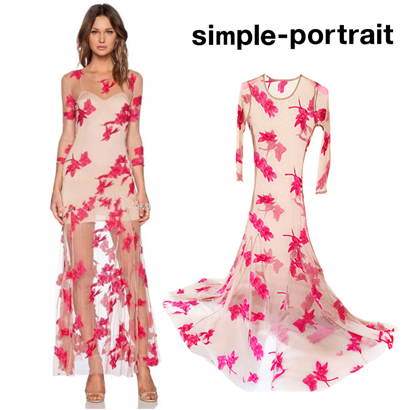 SP Simplee For Love Flower Embroidered Nude Mesh Dress O-neck 3 4 Sleeve b9e672202e5c