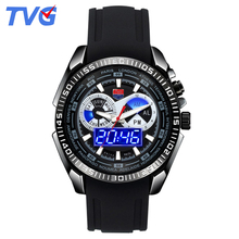 TVG Brand Quartz-watch Fashion Blue LED Dual Display Men Watch Black Silicone Strap Watches Week Display Wristwatch Waterproof