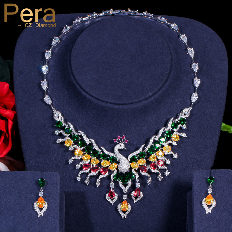 Pera Luxurious Big Statement Peacock Shape AAA+ Multicolor Cubic Zirconia Necklace and Earrings Women Wdding Jewelry Sets J003Pera Luxurious Big Statement Peacock Shape AAA+ Multicolor Cubic Zirconia Necklace and Earrings Women Wdding Jewelry Sets J003