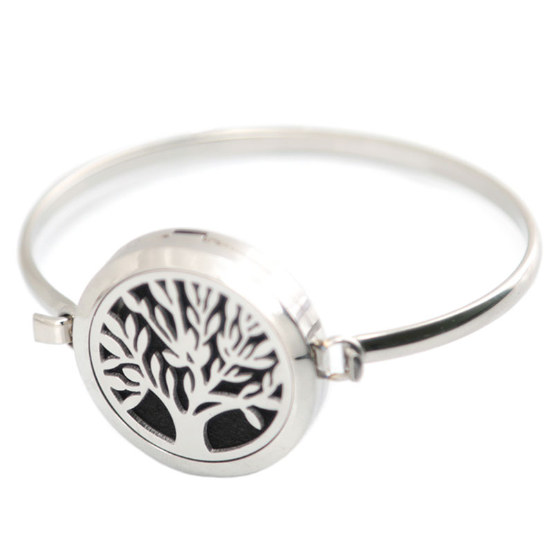 SIlver Jewelry tree of life Aromatherapy / 316L s.steel Essential Diffuser Oils Locket bangle 7-8wrist and 10pcs felt pads