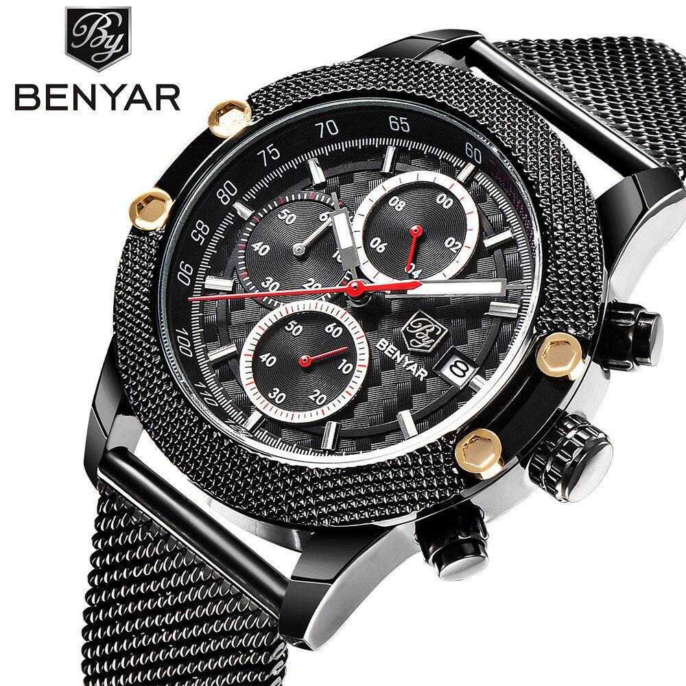 Benyar Fashion Sport Chronograph Quartz Watch Men Multifunction Stainless Steel Strap Waterproof Male Clock relogio masculino benyar sport chronograph fashion watch