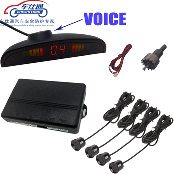 human voice with Russian  Car Parking Sensor for all cars Reverse Assistance Backup Radar Monitor System with 4 sensor 1 set car parking sensor kit car auto led display 4 sensors for all cars reverse assistance backup radar monitor parking system