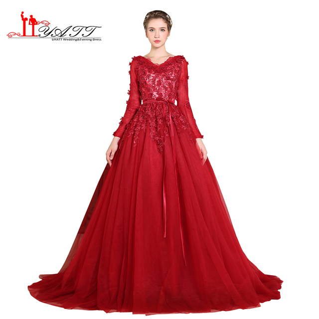 LIYATT Real Photo Evening Dresses Sexy Long Sleeves 3D Handmade Flowers  Wine Red Muslim Appliques Arabic Formal Prom Gown 2017 9c2cc6124a1e