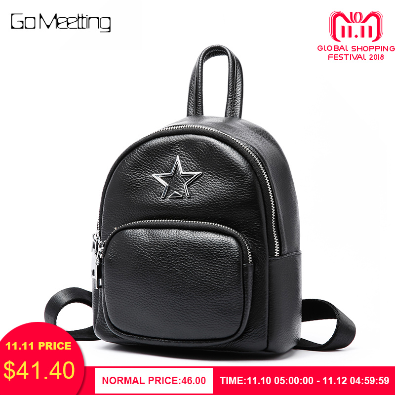 купить Go Meetting Genuine Leather Female Bag Small Backpack bagpack School Bags Women Backpacks School Bag Mochila Feminina Daypack по цене 2619.49 рублей