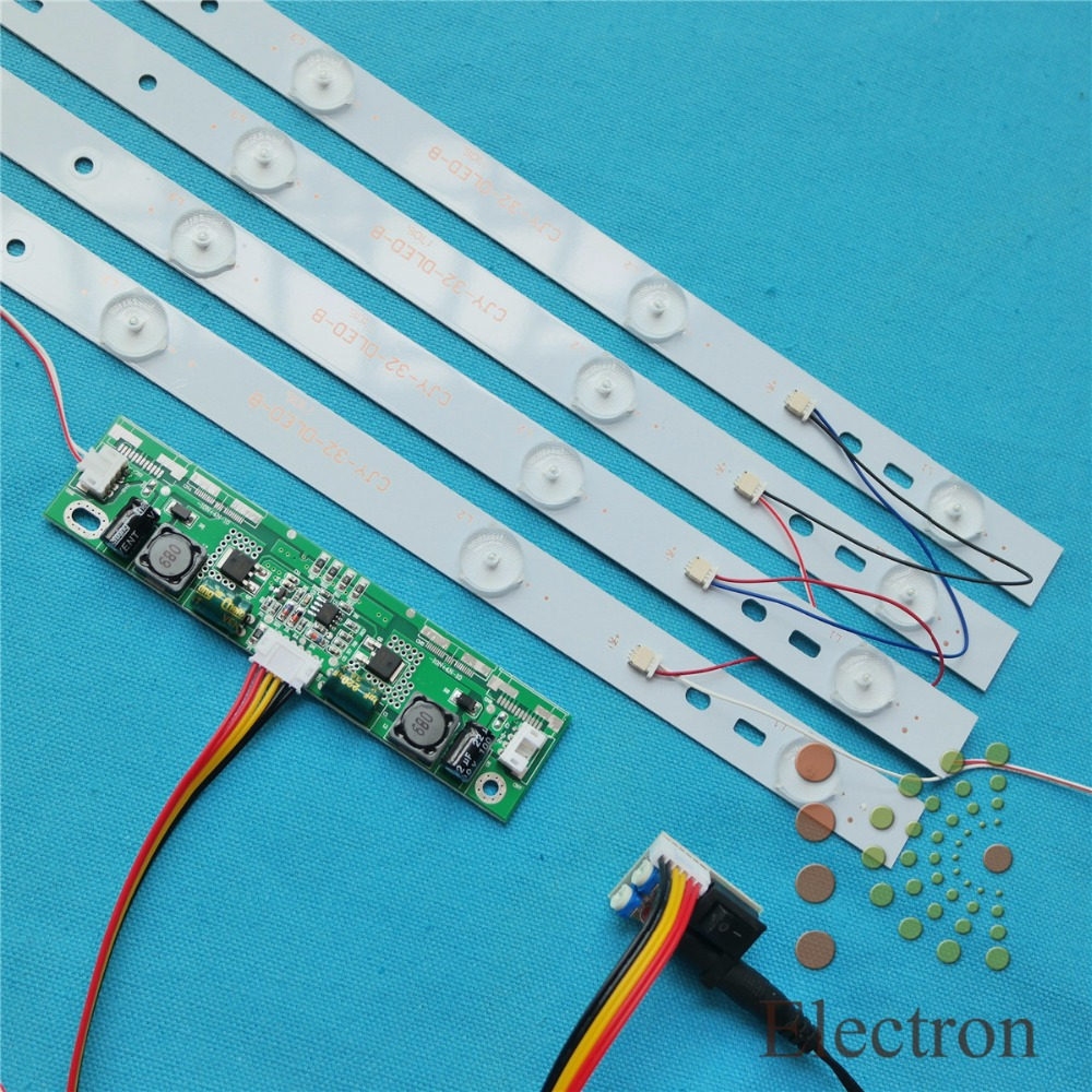 4pcs 615mm LED Backlight Lamps kit Aluminum Board w/ Optical Lens Fliter for <font><b>32inch</b></font> TV <font><b>Monitor</b></font>+driver board+DC 12V Mini Tester image