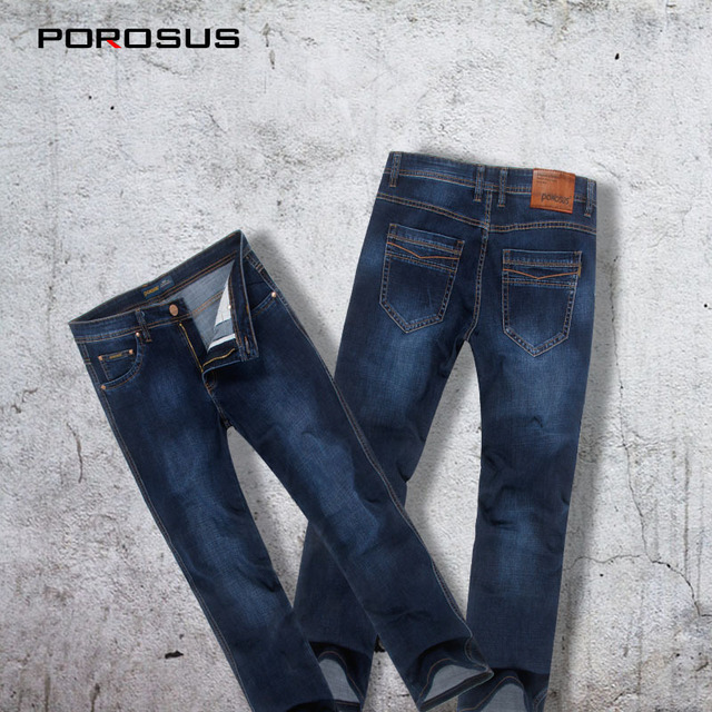 40bc226f30a3d0 Famous Brand[POROSUS]Fashion Stretch Elastic High Quality Straight Slim Fit Designer  Best Jeans Brands Men Big Size PT-1712