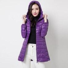 Women Clothing Plus Size 6XL Winter Hooded Light Down Coat White Duck Down Fashion Slim Down Jacket warm long down coat QH1248