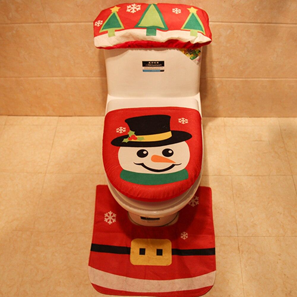 3 шт. рождественское сиденье для унитаза и чехол Санта Клаус коврик для ванной комнаты Рождественский милый Декор рождественские украшения для дома товары для дома