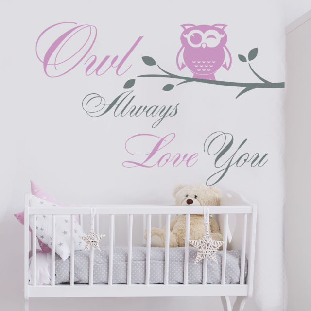 New Arrivals Quote Owl Wall Decal Tree Vinyl Fancy Text Nursery Room Decor Art