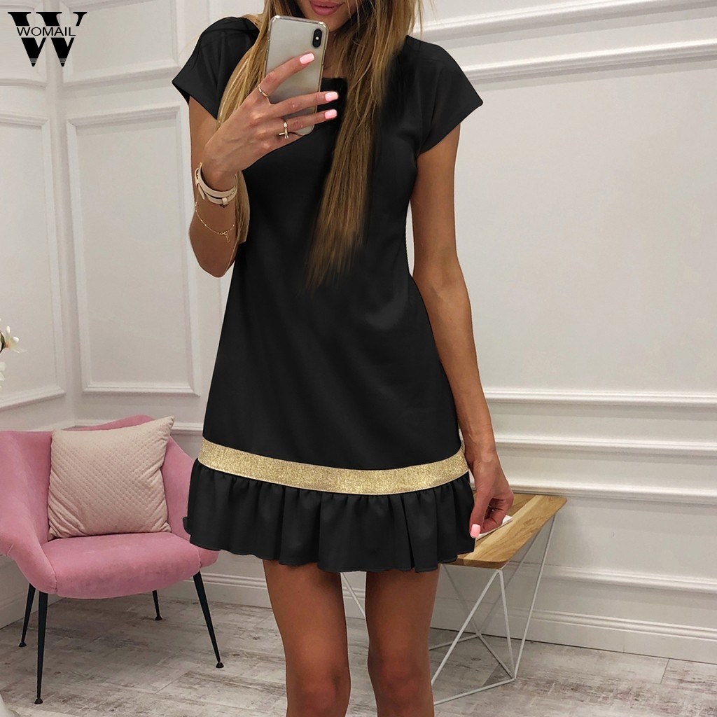Womail Women Patchwork Fishtail Short Sleeve Party Dress Body Shapper Small Pleated Casual Shirt Dress Chic Fashion Dropship D18