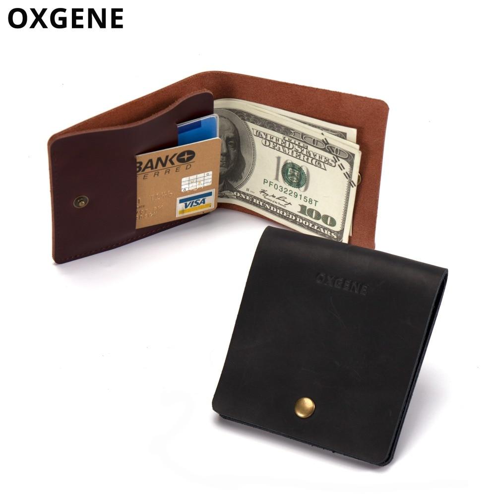 059481b35 Hombres Vintage cuero Mini cartera fina minimalista tarjeta y efectivo  pequeño monedero para hombre diseño Simple estilo Retro Super Delgado clip  del dinero ...
