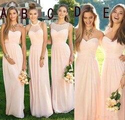 2019 Roze Navy Goedkope Lange Bruidsmeisjekleding Gemengde Hals Flow Chiffon Zomer Blush Bruidsmeisje Formele Prom Party Jurken met