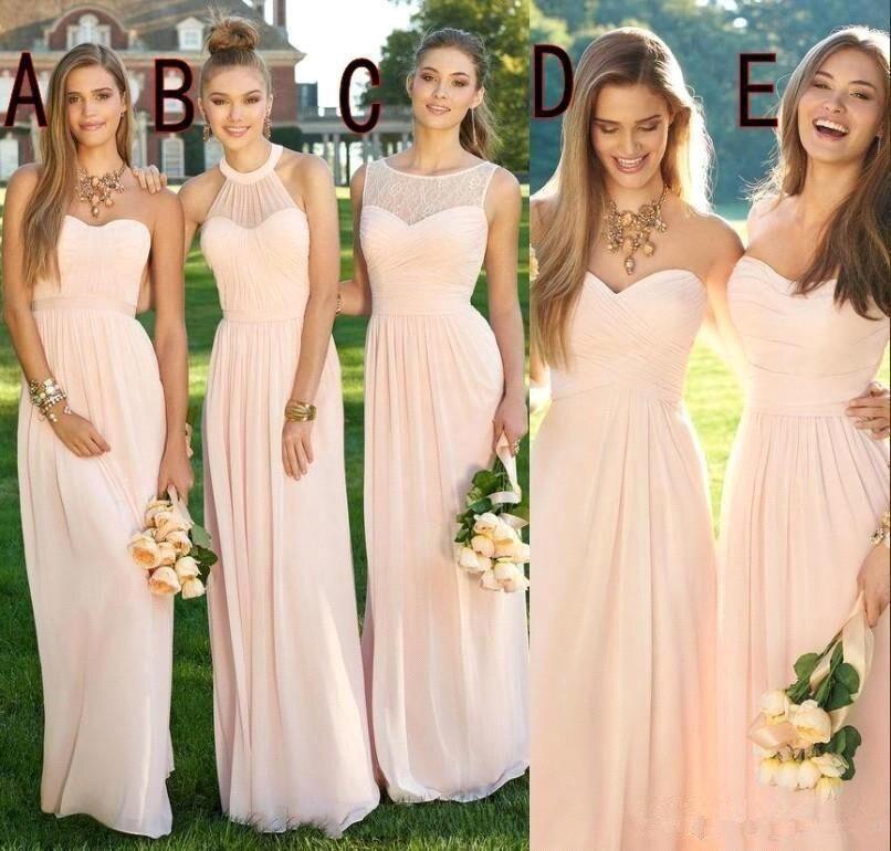 2019 rose marine pas cher longues robes de demoiselles d'honneur décolleté mixte flux en mousseline de soie été Blush demoiselle d'honneur formelle robes de soirée de bal avec